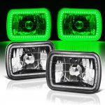 1986 Hyundai Excel Green LED Halo Black Sealed Beam Headlight Conversion