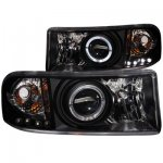 Dodge Ram Sport 2500 1999-2002 Projector Headlights Black Halo LED
