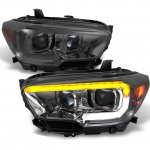 Toyota Tacoma TRD 2016-2020 Smoked LED DRL Projector Headlights Dynamic Signal