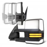 Chevy Silverado 2500 2003-2004 Chrome Power Folding Towing Mirrors Smoked Tube LED Lights