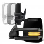 Chevy Silverado 2500 1999-2002 Glossy Black Power Folding Towing Mirrors Smoked Tube LED Lights