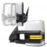 Chevy Avalanche 2003-2005 White Power Folding Towing Mirrors Smoked Tube LED Lights