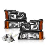 Chevy Silverado 2003-2006 Black Headlights LED Bulbs Complete Kit