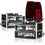 Chevy 3500 Pickup 1994-1998 Black Headlights Tinted LED Tail Lights
