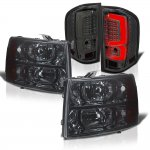 Chevy Silverado 3500HD 2007-2014 Smoked Headlights and Custom LED Tail Lights