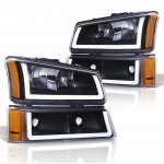 Chevy Silverado 1500HD 2003-2006 Black LED DRL Headlights Set
