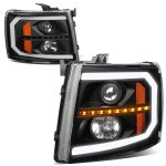 2008 Chevy Silverado Black LED DRL Projector Headlights