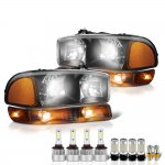 GMC Sierra 3500 2001-2006 Black LED Headlight Bulbs Complete Kit