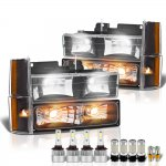 Chevy 1500 Pickup 1988-1993 Black Headlights LED Bulbs Complete Kit