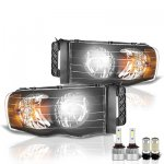 Dodge Ram 2002-2005 Black LED Headlight Bulbs Set Complete Kit