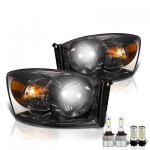 Dodge Ram 2006-2008 Smoked LED Headlight Bulbs Set Complete Kit
