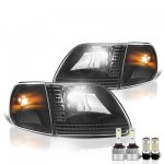 1999 Ford F150 Black LED Headlight Bulbs Set Complete Kit