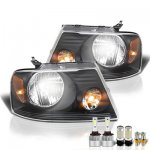 2005 Ford F150 Black LED Headlight Bulbs Set Complete Kit