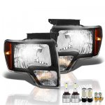 Ford F150 2009-2014 Black LED Headlight Bulbs Set Complete Kit