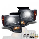 2013 Ford F150 Smoked LED Headlight Bulbs Set Complete Kit