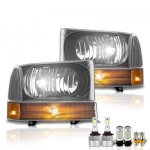 Ford F250 1999-2004 Black LED Headlight Bulbs Set Complete Kit