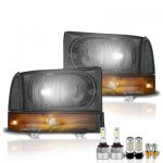 2001 Ford Excursion Smoked LED Headlight Bulbs Set Complete Kit