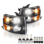 Chevy Silverado 2500HD 2007-2014 Black Headlights LED Bulbs Complete Kit
