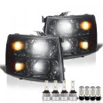 Chevy Silverado 3500HD 2007-2014 Smoked Headlights LED Bulbs Complete Kit