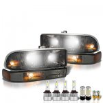 2002 Chevy S10 Smoked LED Headlight Bulbs Set Complete Kit