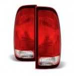 Ford F250 1999-2007 Red and Clear Replacement Tail Lights