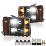 2009 GMC Sierra Black Headlights LED Bulbs Complete Kit