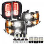 Chevy Silverado 3500HD 2007-2014 Black Headlights Custom LED Tail Lights LED Bulbs Complete Kit