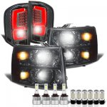 Chevy Silverado 3500HD 2007-2014 Smoked Headlights Custom LED Tail Lights LED Bulbs Complete Kit