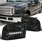 Ford F450 Super Duty 2005-2007 Smoked Headlights LED Daytime Running Lights