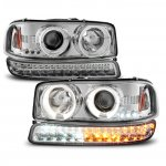 2006 GMC Sierra  Halo Projector Headlights and LED Bumper Lights Chrome