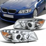 BMW 3 Series Sedan 2006-2008 Chrome Halo Projector Headlights LED