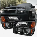 Chevy Avalanche 2002-2006 Body Cladding Black Halo Projector Headlights Set
