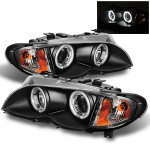 2003 BMW E46 Sedan 3 Series Black CCFL Halo Projector Headlights