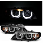 2003 BMW 3 Series E46 Sedan Black U-Bar Halo Projector Headlights
