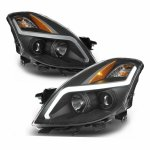 Nissan Altima Coupe 2008-2009 Black LED DRL Projector Headlights