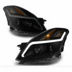 Nissan Altima Coupe 2008-2009 Black Smoked LED DRL Projector Headlights