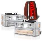 Chevy Silverado 1994-1998 Headlights and Tube LED Tail Lights Red Clear