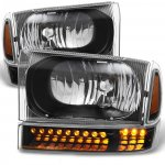 2001 Ford Excursion Black Headlights LED Bumper Lights