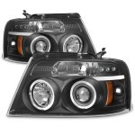 2005 Ford F150 Black Halo Projector Headlights with LED