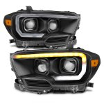 Toyota Tacoma TRD 2016-2020 Black LED DRL Projector Headlights Dynamic Signal