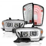 Toyota Tacoma TRD 2016-2020 Chrome Projector Headlights LED Tail Lights Sequential Tube Signal