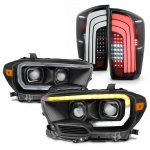 Toyota Tacoma SR 2016-2020 Black Projector Headlights LED Tail Lights Sequential Tube Signal
