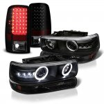 Chevy Suburban 2000-2006 Black Halo Projector Headlights LED Tail Lights