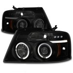 2005 Ford F150 Black Smoked Halo Projector Headlights with LED