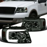 Ford F150 2004-2008 Smoked Projector Headlights Switchback LED Sequential Signal