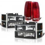 GMC Sierra 1994-1998 Black Headlights and LED Tail Lights Red Clear