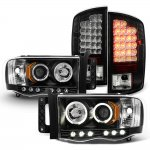 Dodge Ram 3500 2003-2005 Black Projector Headlights and LED Tail Lights