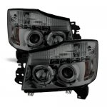 Nissan Titan 2004-2015 Smoked Halo Projector Headlights with LED