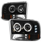 Ford Excursion 2000-2004 Black Dual Halo Projector Headlights with LED