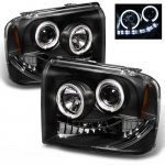 Ford F450 Super Duty 2005-2007 Black Halo Projector Headlights with LED